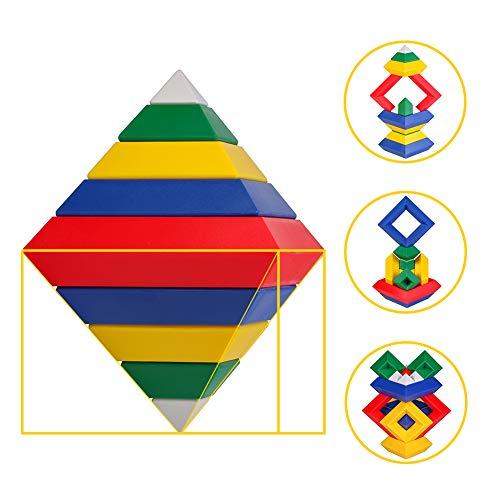 HAPPYMATY 3D Puzzle Pyramide Bausatz Regenbogen Bausteine Triangle Puzzle Spielpyramide Kinder Bauklötze