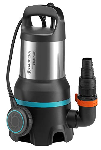 GARDENA Schmutzwasser-Tauchpumpe 25000: Tauchpumpe mit Fördermenge 25.000 l/h, Automatic-Funktion, Schwimmschalter mit Dauerlauffunktion, Schmutzpartikel bis zu 38 mm, Schnellkupplungssystem, 1.100 W