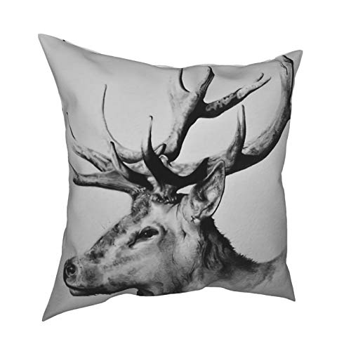 Rajfoo Cotton Cute Funny Stag Throw Pilloww Covers Cushion Cover Decorative Sofa Bedroom Living Room Square 18 Inches