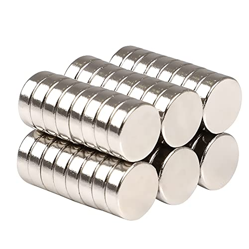 SMARTAKE 45 Pcs Refrigerator Magnets, Small Round Office Magnets, Multi-Use Premium Neodymium Magnets for Fridge, Whiteboard, Billboard, Dry Erase Board in Home, Kitchen, Office and School (Sliver)