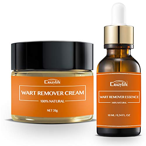 Wart Remover Set (20g+10ml) - Cream + Powerful Fast Acting Essence to Remove All Kinds of Plantar and Common Warts, Skin Tags   Effective Painless Wart Removal Treatment