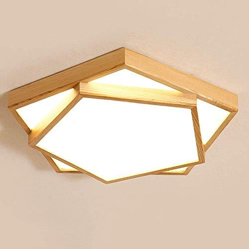 Mooie moderne decoratieve lampen van hout plafondlamp 30 W warmwit licht plafondlamp geometrische vorm Lighting Design plafond voor kinderen slaapkamer woonkamer badkamer 3000 K 55