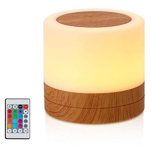 i-Found Mini lámpara de mesita de noche LED Nightlight para bebé niños dormitorio al aire libre, lámpara de cuidado de ojos regulable con color cambiante táctil Senor Control remoto USB recargable