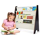 COSTWAY Kinder Bücherregal mit 4 Ablagefächern, Hängefächerregal Holz, Büchergestell, Zeitungsständer für Kinderzimmer (Kaffeebraun)