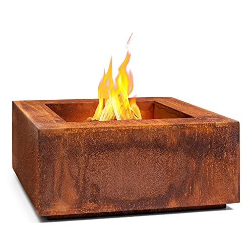 blumfeldt Desert Rust - Braciere, Resistente a Gelo e Acqua, Combustibile: Legna da Ardere o Carbonella, Adatto anche come Vaso, Acciaio Corten, Ø: 1,5 mm, 60 x 26 x 60 cm (LxAxP), Quadrato