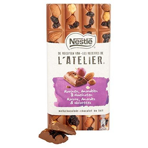 Tavoletta al cioccolato al latte con uvetta e mandorle | Nestlé | L'ATELIER Cioccolato al latte Uvetta Nocciole e Mandorle | Peso totale 195 grammi