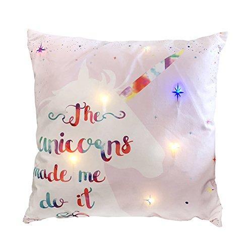 SUNNY TRADING Dekoratives LED-Dekokissen, Kissenbezug mit LED-Lichtern, tolles Geschenk für Kinder, Weihnachten, Einhorn-Design, batteriebetrieben, mit Timer, 45,7 x 45,7 cm