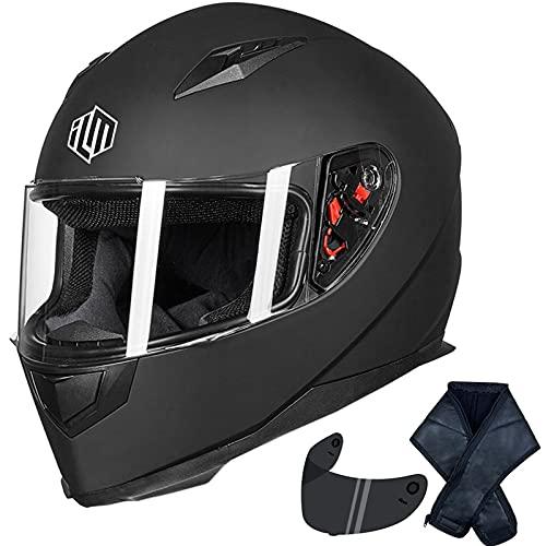 ILM Full Face Motorcycle Street Bike Helmet with Removable Winter Neck Scarf + 2 Visors DOT (L,...