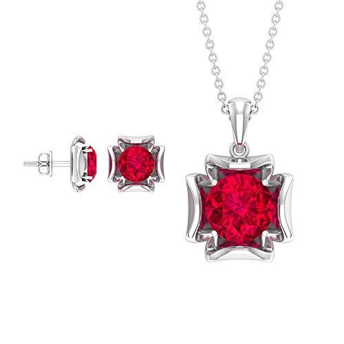 4.35 CT creado en laboratorio colgante y pendientes, conjunto de joyas de oro (calidad AAAA), 14K Oro blanco, ruby lab creado