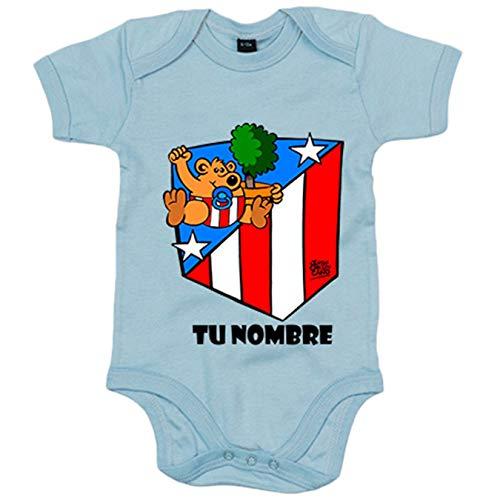 Body bebé Atlético de Madrid Isidrín personalizable con nombre - Celeste, 6-12 meses