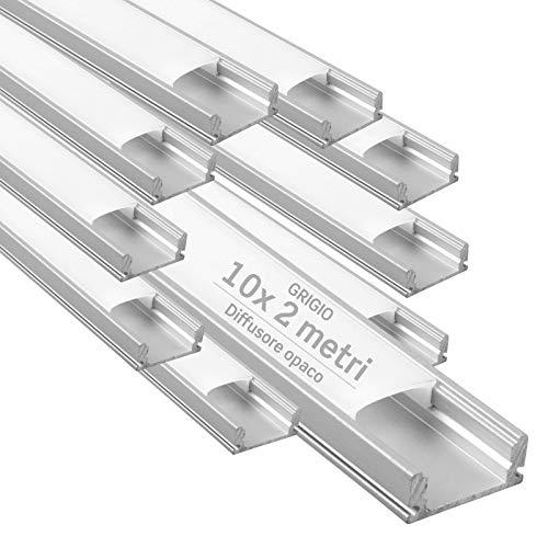 10x Profili da 2 metri (20mt) in Alluminio grigio per Strisce LED Schermatura Opaca ingombro max striscia led 12.4mm - 17.4 x 7