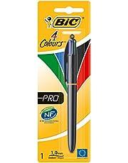 BIC Długopis 4-kolorowy 4 Colours Pro – pisak wielofunkcyjny w czarnym wzornictwie z 4 wkładami i atramentem do przechowywania dokumentów – Liczba: 1 sztuka