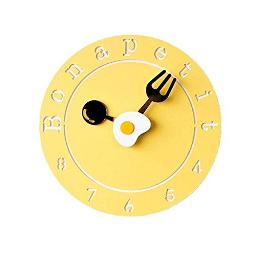 LINGZHIGAN Creative Decorative Wall Clock Cartoon Colorful Clock Retro Chambre Salle d'étude Salon Kid 26cm ( Couleur : Le jaune )