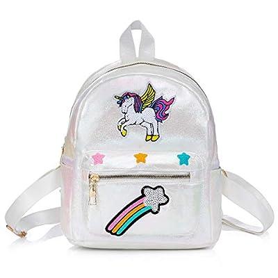 WolinTek Mochila Infantil Unicornio, Mochilas de la Escuela Unicornio, Regalos para Niñas,Bolsos del Estudiante del Arco Iris del Unicornio de la Moda de la fantasía,Para Escuela/Viajes (Blanco)