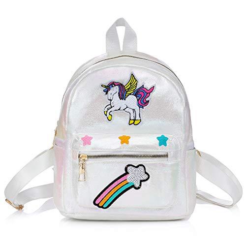 WolinTek Einhorn Tasche, Kinderrucksäcke,Mädchen Schulrucksack Umhängetasche, Rucksack für Kinder Mädchen Damen,für Schule Reisen Freizeit (Weiß)