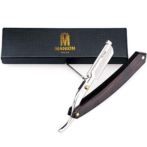 Easy Razor Blade Replaceable Straight Razor Retro Wooden Handle Double Edge Razor Barber Hair Beard...