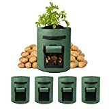 Wohous 5 Pack 7 Gallon Potato Grow Bags withVelcro Window Vegetable Grow Bags, Double Layer Premium Breathable Nonwoven Cloth for Potato/Plant Container/Aeration Fabric Pots with Handles