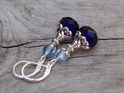 Vintage Ohrringe mit böhmischen Glasperlen - royalblau, königsblau, hellblau, blau & silber