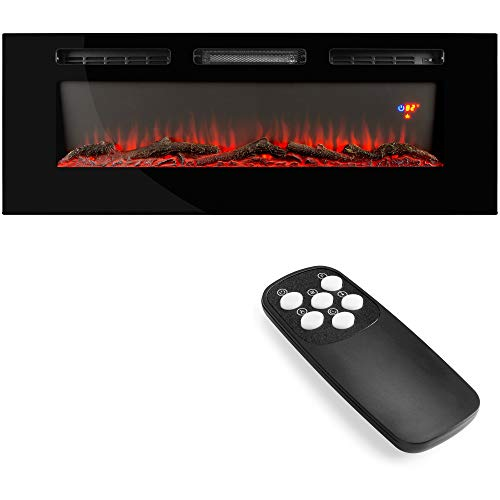 Best Choice Products 1500W 40in Electric Fireplace Heater Recessed and Wall Mounted w/Remote, Logs, Crystal Stones, 3 LED Flame Colors, Touch Screen