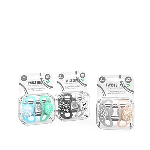 Twistshake Pacifier 6+m Bundle for Boys with 2PK Black/White, 2PK-Pastel Blue/Pastel Green, 2PK-Pastel Grey/Pastel Beige