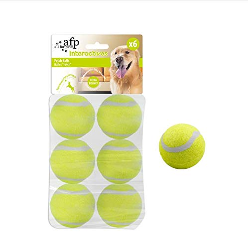All for Paws Dog Tennis Balls for Dogs, Great for Mini Ball Launcher, 6 Pack 2 Inch Tennis Balls