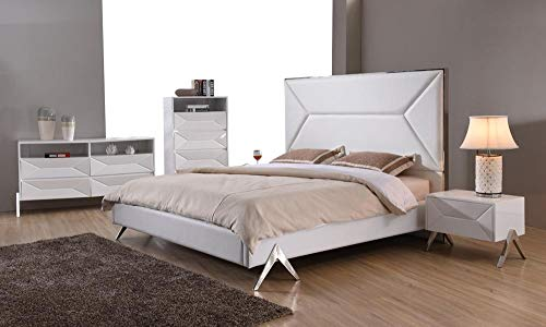 For Sale! Modern White Leatherette Queen Bedroom Set 5Pcs Soflex Modrest Candid