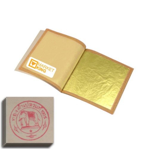 "Edible Gold Leaf Sheets 10 Leaves 24 Karat Ss-size 0.8"" X 0.8"" Genuine Authentic for Foods, Cakes & Chocolates, Decoration, Health & Beauty, Home Arts & Crafts, Metal Working, Marketking Brand"