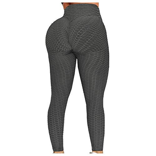 Leggings de entrenamiento para mujer, fitness, deportes, running, yoga, pantalones de deporte de cintura alta, anticelulitis gris oscuro XL
