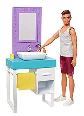 Barbie Ken Bathroom Playset with Petite, Brunette, Color-Change Shaving Ken Doll, Sink/Vanity and 4 Accessories, Gift for 3 to 7 Year Ols??