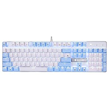 Mechanical Gaming Keyboard SADES Blue Switches 104 Keys Mechanical Gaming Keyboard,Wired USB White LED Backlit Computer Keyboard,Cute Mechanical Gaming Keyboard for PC/Laptop Blue White