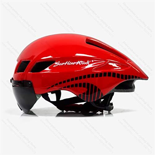 Bicicleta Casco Road MTB Montaña Bicicleta Triatlón TT Ciclismo Casco Lente Gafas Equipe Capacete Red-Black-1