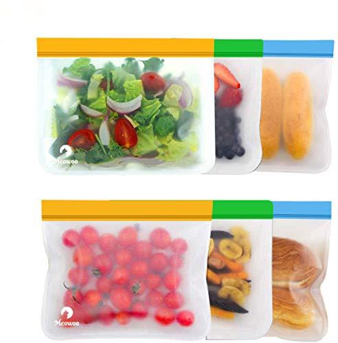 Meowoo Sándwich Frutas Comida Bolsas de Almacenamiento, Bolsas de Silicona Snacks Ecológica, Reutilizable y Impermeable, Peva Material(6Pcs)