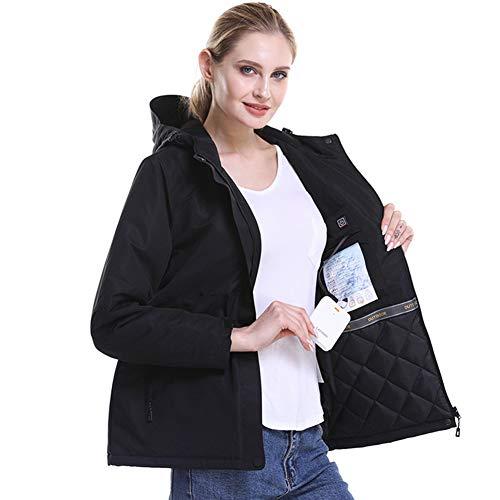 Beheizte Jacke, Winddichte, Elektrische USB-Heizkleidung, Elektrische Kohlefaserheizung, 3 Temperatureinstellungen, Waschbar, Für Männer, Frauen, Batterie Ausschließen,Schwarz,XL