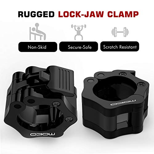 MoKo-Barbell-Clamps-Quick-Release-Pair-of-Locking-2-inch-Professional-Olympic-Weight-Barbell-Locks-Collar-Clips-Great-for-Workout-Weightlifting-Fitness-Strength-Training-1-Pair-Black