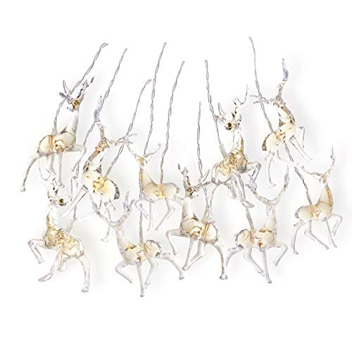 DecoKing 10er LED Lichterkette auf silbernem Draht Hirsche warmes Weiß statisch batteriebetriebene LED Girlande Gartendeko Reindeer