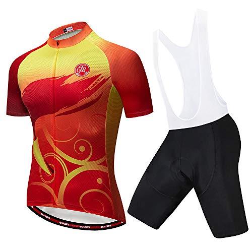 HXTSWGS Conjunto de Maillot de Ciclismo de Verano, Maillot de Bicicleta de Carreras de Equipo Transpirable, Ropa de Ciclismo para Hombre Jersey de Bicicleta Corta-B_L