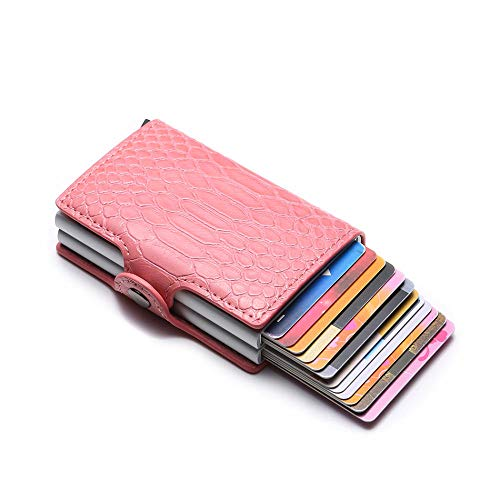 Tarjeteros RFID Wallet Men Money Bag Mini Purse Male Aluminium Black Slim Magic Card Snake Small Smart Wallet Women Vallet Walet Nuevo-Rosado