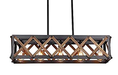 Industrial Cross Framed Box Island Chandelier Wood Iron Metal Rectangular Linear Shade Farmhouse Pendant Lamp (Length 32 Inch)