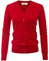 Women's V-Neck Button Down Long Sleeve Soft Classic Cropped Cardigan(XL,Red)