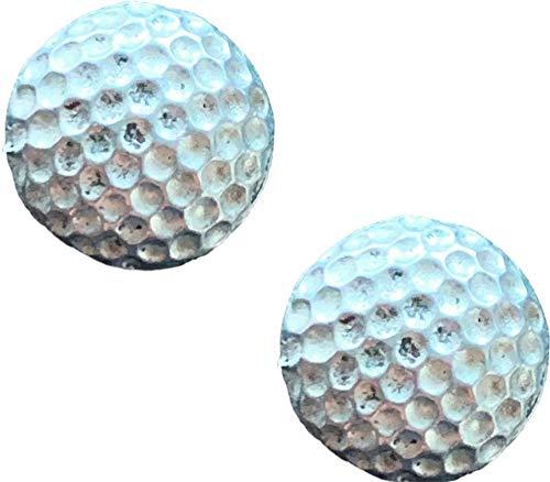 Anstecknadel mit Golfball-Motiv, handgefertigt, aus englischem Zinn, mit Geschenkbeutel, 59 mm, 2 Stück