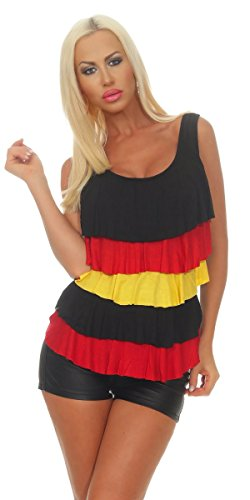 11554 OSAB-Fashion 11554 Damen Fan-Top Fußball WM EM 2020 Deutschland Flagge Rüschen Fan-Shirt Trikot (schwarz-rot-gold, 36-38)