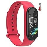 BNMY Smartwatch con Medidor De Temperatura Corporal Reloj Inteligente Medidor Frecuencia Cardíaca Medidor Presión del Tiempo Contador Calorías Podómetro para Hombre Y Mujer,Rojo