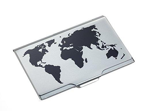 TROIKA GLOBAL Contacts – CDC15-02BK/TI – Visitenkartenetui mit Weltkartenprägung auf dem Deckel – für ca. 10 Karten – Aluminium– sehr leicht – eloxiert – schwarz, titanfarben – TROIKA-Original