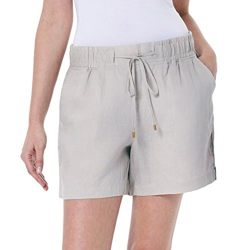 Ellen Tracy Women's Adjustable Drawstring Linen Shorts (Large, Sandstone)