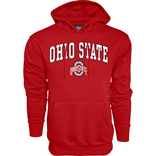 NCAA Ohio State Buckeyes Mens Hoodie Team Color Arching Over, Ohio State Buckeyes Red, Large