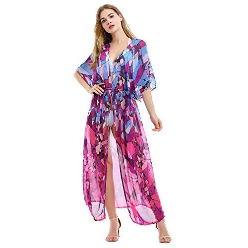 Tyidalin Cárdigans Mujer Florales Largo Vestido Playa Verano Kimono Gasa Maxi Camisolas y Pareos Bohemio (Color 2, Talla única)