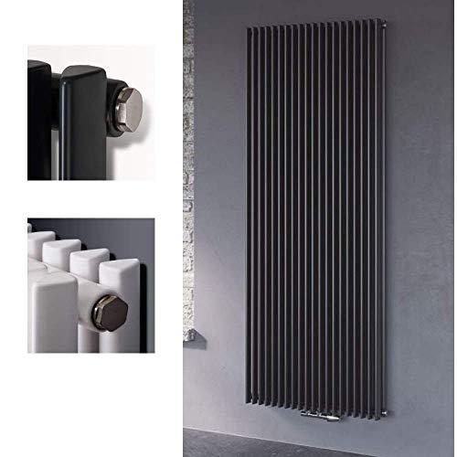 Röhrenradiator Vertikalheizkörper Aurora Mittelanschluss vertikal einlagig Höhe 1800 mm - anthrazit Heizkörper Heizwand (H 1800 mm x B 330 mm)
