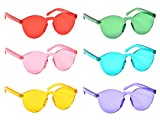 6 Pack One Piece Rimless Cat-eye Sunglasses Transparent Candy Color Tinted Eyewear