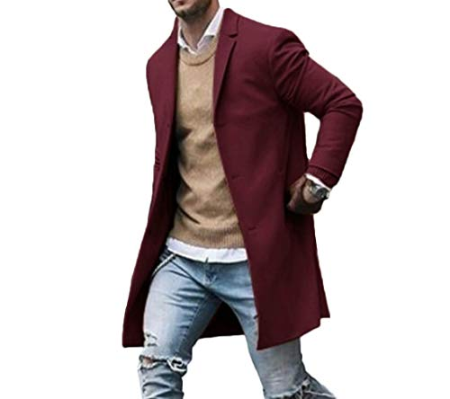 Canrulo Men Trench Coat Wool Slim Fit Notched Collar Overcoat Single Breasted Long Pea Coat Jacket (XXL, Wine Red)
