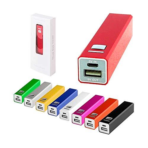 Lote de 10 Power Bank en Aluminio. 2200 MAh con cable incluido, se entrega cada power bank en su cajita. Micro USB.